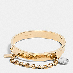 COACH F90773 White Buffalo Turquoise Padlock Chain Hang Bangle GOLD/WHT BUFFALO TURQUOISE