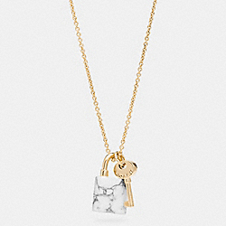 COACH F90774 White Buffalo Turquoise Lock And Key Necklace GOLD/WHT BUFFALO TURQUOISE