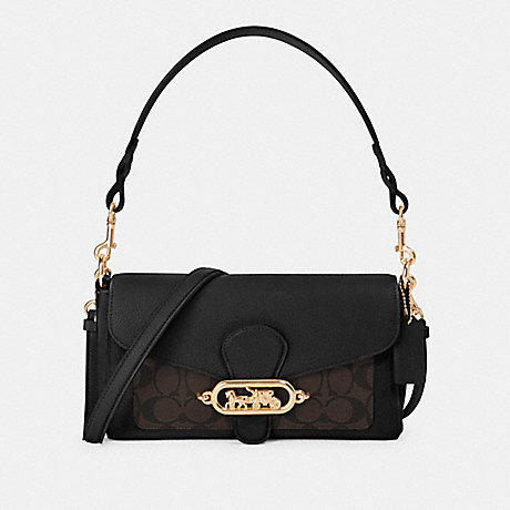 COACH F90782 SMALL JADE SHOULDER BAG WITH SIGNATURE CANVAS DETAIL IM/BROWN BLACK
