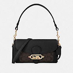 SMALL JADE SHOULDER BAG WITH SIGNATURE CANVAS DETAIL - F90782 - IM/BROWN BLACK