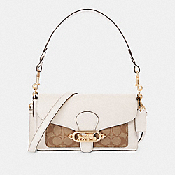 SMALL JADE SHOULDER BAG WITH SIGNATURE CANVAS DETAIL - F90782 - IM/KHAKI/CHALK