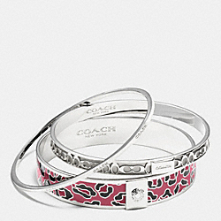 COACH F90811 Ocelot Bangle Set SILVER/CRANBERRY