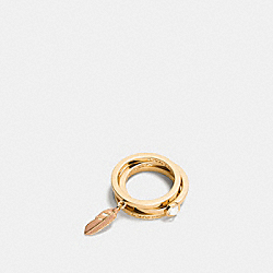 COACH F90815 Pave Metal And Enamel Feather Ring Set GOLD/BLUSH