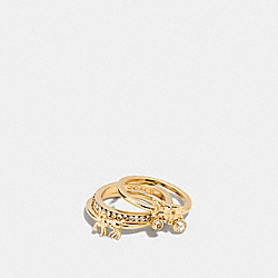 PAVE HORSE AND CARRIAGE RING SET - f90820 - GOLD