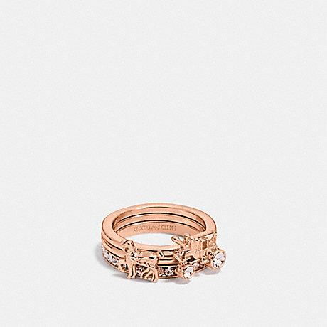 COACH F90820 PAVE HORSE AND CARRIAGE RING SET ROSEGOLD