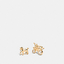 PAVE HORSE AND CARRIAGE STUD EARRINGS - f90823 - GOLD