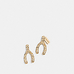 PAVE WISHBONE STUD EARRINGS - f90826 - GOLD