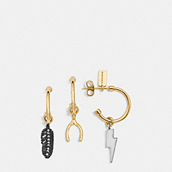 PAVE WISHBONE MIX HOOP EARRING SET - f90831 - GOLD/MULTICOLOR