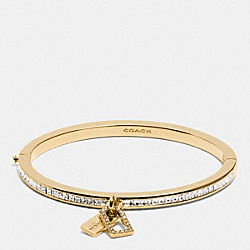 COACH F90837 Boxed Pave Multi Hangtag Hinged Bangle GOLD