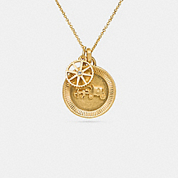 HORSE AND CARRIAGE COIN NECKLACE - f90859 - GOLD