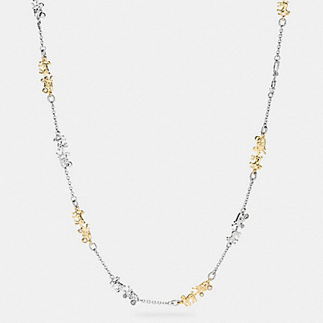 COACH f90860 LONG COACH HORSE AND CARRIAGE NECKLACE GOLD/SILVER