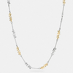 LONG COACH HORSE AND CARRIAGE NECKLACE - f90860 - GOLD/SILVER