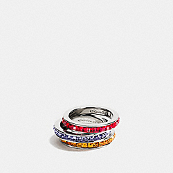 RAINBOW RING SET - f90905 - SILVER/ORANGE
