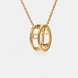 COACH F90918 Pave Coach Ring Necklace GOLD