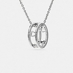 PAVE COACH RING NECKLACE - f90918 - SILVER/BLACK