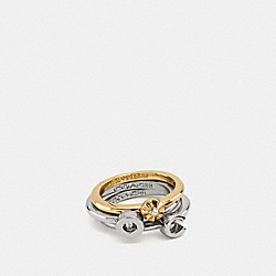 COACH F90932 - COACH RIVET RING SET GOLD/SILVER