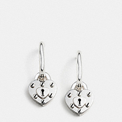 STERLING SILVER HEART LOCK HOOP EARRINGS - f90938 - SILVER/SILVER