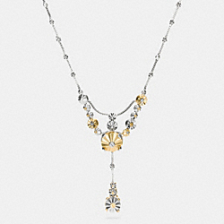COACH F90944 Daisy Rivet Drop Necklace SILVER/GOLD
