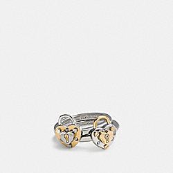 COACH F90951 - PADLOCK HEART RING SET SILVER/GOLD