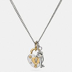 COACH F90953 - SHORT PADLOCK HEART AND KEY NECKLACE SILVER/GOLD