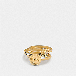 PAVE HORSE AND CARRIAGE COIN RING SET - f90982 - GOLD
