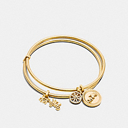 HORSE AND CARRIAGE COIN BANGLE SET - f90983 - GOLD