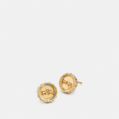 COACH F90985 PAVE HORSE AND CARRIAGE STUD EARRINGS GOLD