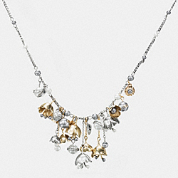 COACH F90990 Cluster Tea Rose Bud Pearl Necklace SILVER/GOLD