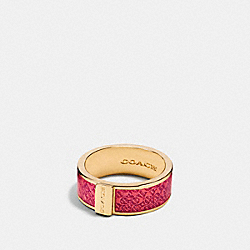 COACH F90991 Enamel Signature Ring GOLD/DAHLIA
