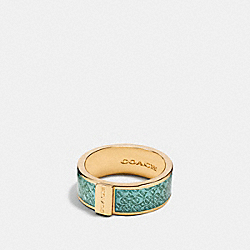 COACH F90991 - ENAMEL SIGNATURE RING GOLD/SEAGLASS