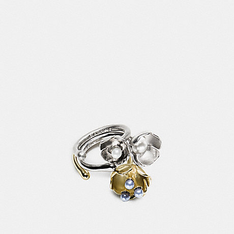 COACH F90992 TEA ROSE PEARL RING SET SILVER/GOLD