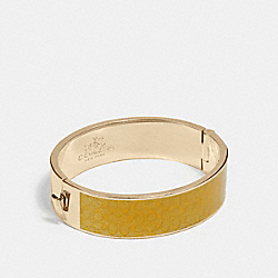 SIGNATURE WIDE HINGED BANGLE - f90996 - GOLD/CANARY