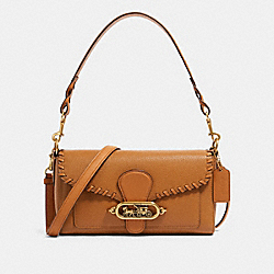 SMALL JADE SHOULDER BAG WITH WHIPSTITCH - F91025 - OL/LIGHT SADDLE