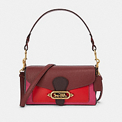 SMALL JADE SHOULDER BAG IN COLORBLOCK - F91070 - OL/WINE OXBLOOD MULTI