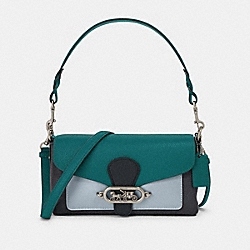 SMALL JADE SHOULDER BAG IN COLORBLOCK - F91070 - SV/MIDNIGHT VIRIDIAN MULTI