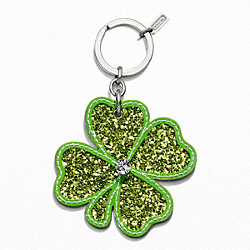 COACH F93067 Glitter Shamrock Key Ring