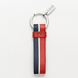 COACH F93149 - STRIPE LEATHER KEY RING  PERSLIGHT GOLDMON/NAVY