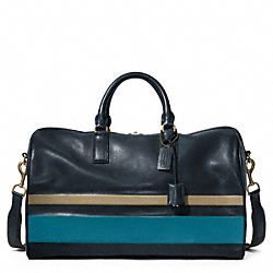 COACH F93202 Bleecker Debossed Stripe Leather Boston Bag
