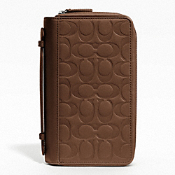 COACH F93209 Signature Embossed Zip Around Travel Organizer