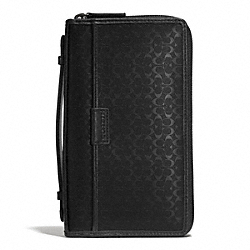 COACH F93215 Heritage Signature Embossed Coated Canvas Double Zip Travel Organizer GUNMETAL/BLACK