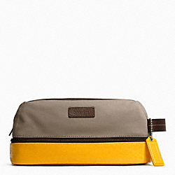 COACH F93228 Heritage Signature Embossed Pvc Canvas Travel Kit SILVER/KHAKI/YELLOW