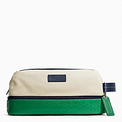 COACH F93228 Heritage Signature Embossed Pvc Canvas Travel Kit SILVER/NATURAL/GREEN