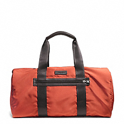 COACH F93313 - VARICK PACKABLE GYM BAG IN NYLON GUNMETAL/ORANGE