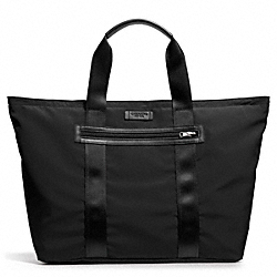 COACH F93314 - VARICK PACKABLE WEEKEND TOTE IN NYLON GUNMETAL/BLACK/BLACK