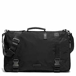 COACH F93316 - VARICK NYLON MESSENGER GARMENT BAG GUNMETAL/BLACK/BLACK
