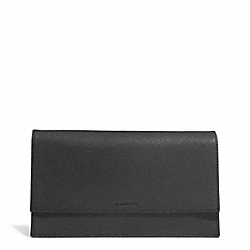 SAFFIANO LEATHER TRAVEL DOCUMENT HOLDER - f93319 - F93319SVBK
