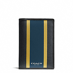 COACH F93396 Coach Heritage Check Passport Case CHARCOAL/MARINE