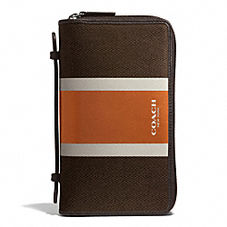 COACH F93398 Coach Heritage Check Double Zip Travel Organizer ESPRESSO/ORANGE