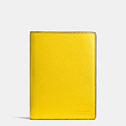 COACH F93462 Passport Case In Refined Pebble Leather YELLOW