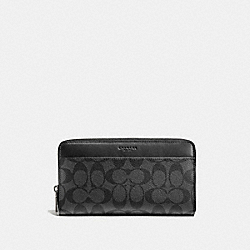 COACH F93510 - TRAVEL WALLET IN SIGNATURE CHARCOAL/BLACK